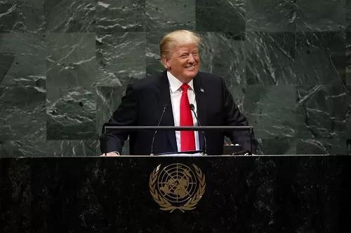 ▲9月25日,在位于纽约的联合国总部,美国总统特朗普在联合国大会一般性辩论上发表演讲。新华社记者 李木子 摄