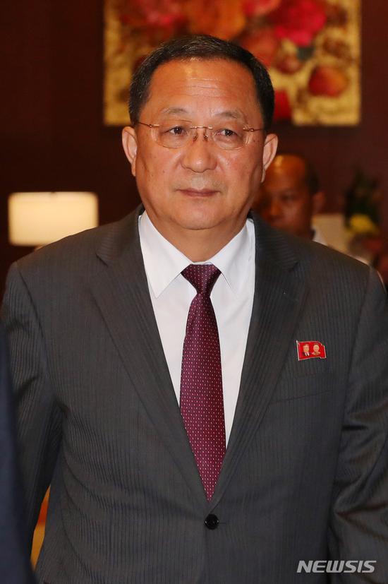 资料图:朝鲜外相李勇浩(纽西斯通讯社)