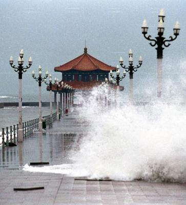 """图文:""""派比安""""强台风登陆青岛(1)"""