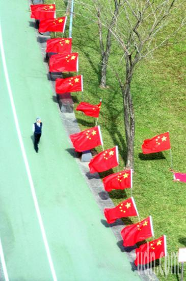 """""""中华爱国同心会""""在民进党中央党部前的公园插满五星红旗。(台湾联合新闻网)"""