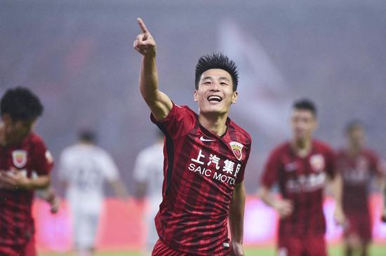 武磊庆祝进球。东方IC 图