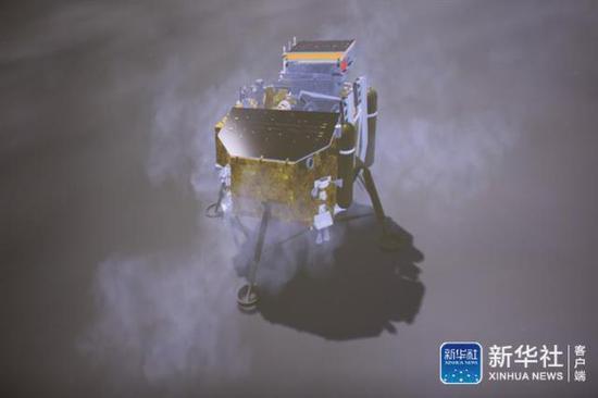 图为1月3日在北京航天飞行控制中心拍摄的降落过程(示意图)(图源:新华社)
