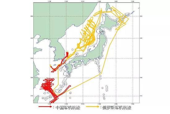 ▲图为空自应对中国和俄罗斯战机的航迹统计