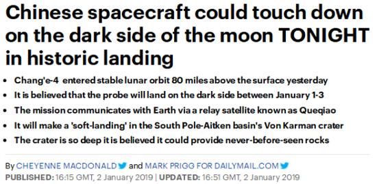 英国《每日邮报》2日就撰文预测嫦娥四号的落地时间。(图源:截图)