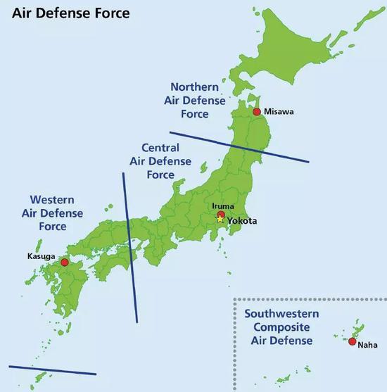 ▲图为日本航空自卫队各方面队管辖区域