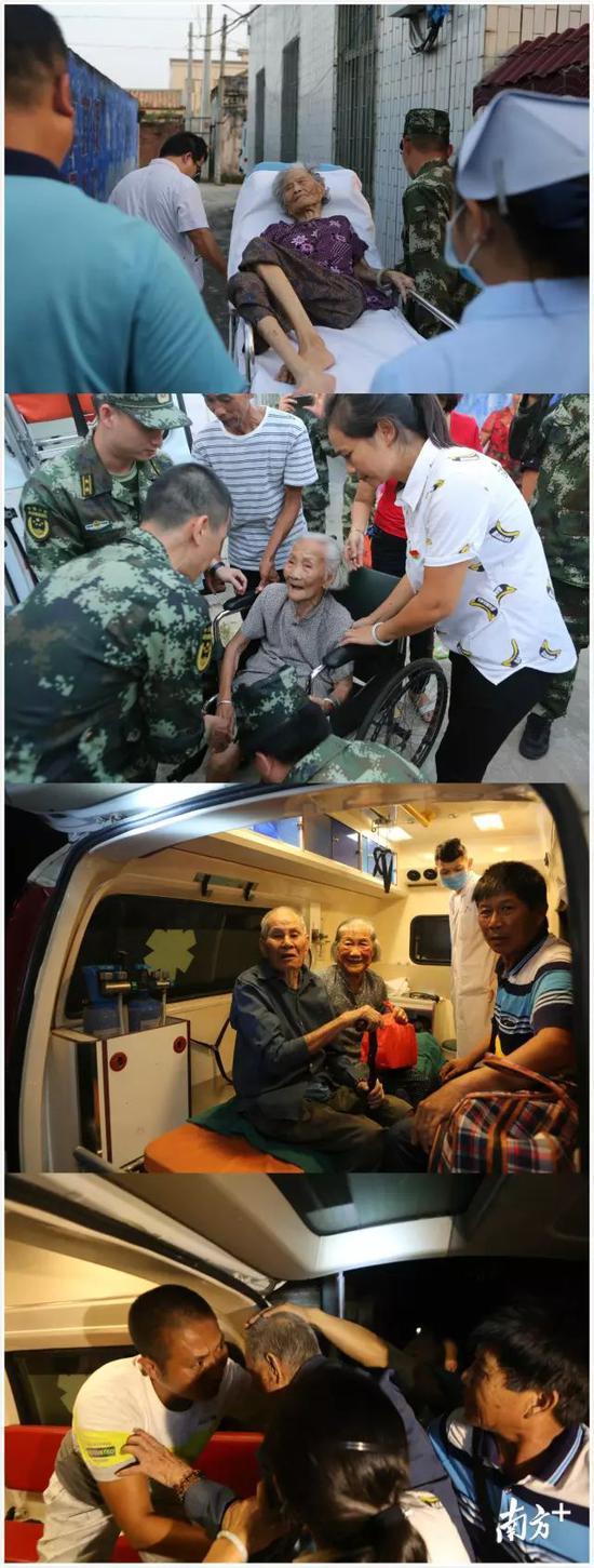 ↑湛江市民安镇东海岛西湾村安全转移现场,目前已完全转移
