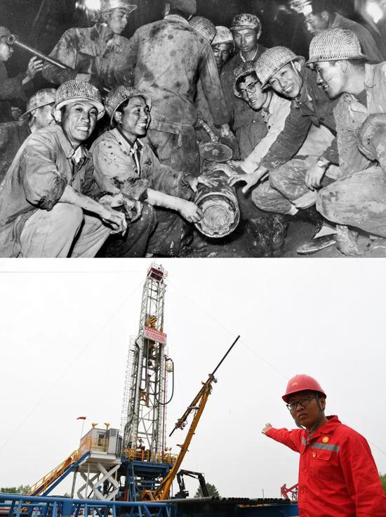 上图为1965年大庆石油工人第一次取出长岩芯时的情景(资料照片);下图为2019年6月26日,大庆油田1202钻井队党支部书记姜洪伟介绍正在使用的先进钻机(新华社记者王建威摄)。