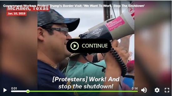 联邦雇员走上街头抗议,希望政府重新开放。(视频截图)