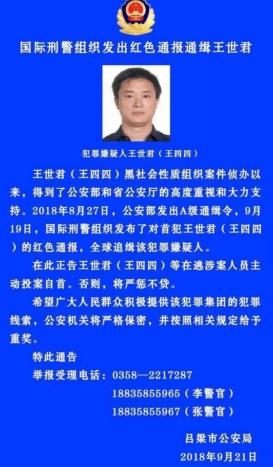 国际刑警红色通报通缉王世君:公安部A通涉黑嫌犯