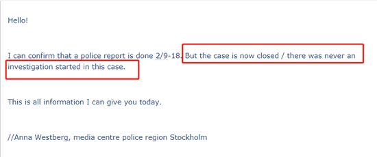 瑞典警方邮件内文截图