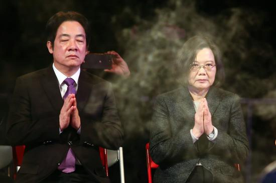 """""""各怀鬼胎""""的赖清德和蔡英文 图丨台媒"""