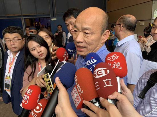 """韩国瑜4月20日称将发表声明回应是否参选2020(图片来源:台湾""""中时电子报"""")"""