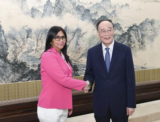 国家副主席王岐山12日在中南海会见委内瑞拉副总统罗德里格斯。图片来源:新华社