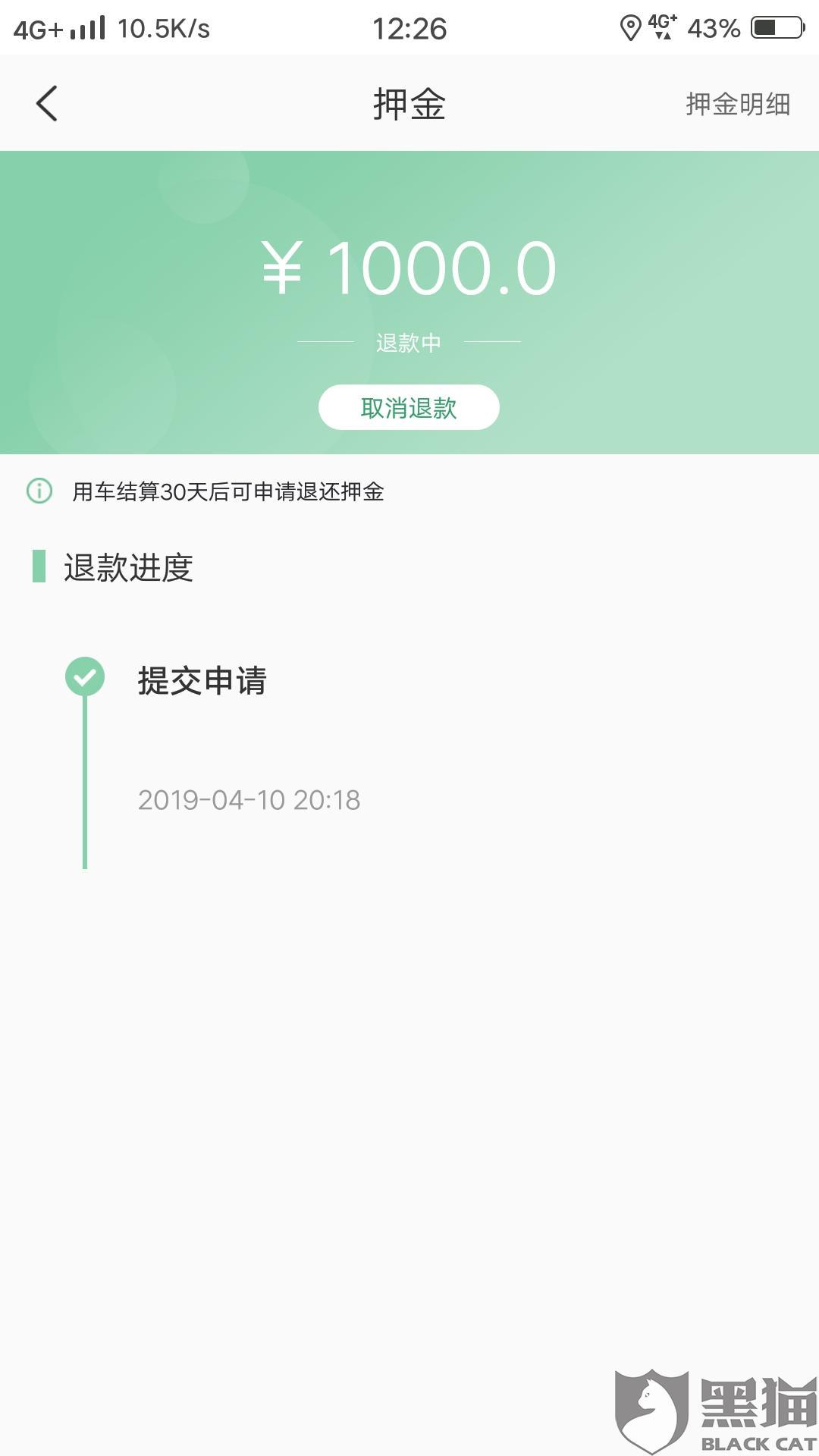 黑猫投诉:盼达用车不退还消费者押金(已解决)