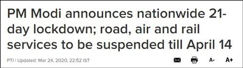 """莫迪宣布21天的""""封锁令""""直至4月14日 《今日印度》报道截图"""