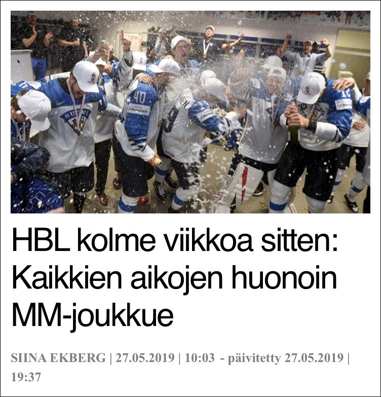 """芬兰媒体以""""媒体HBL记者三周前:芬兰队必输无疑""""为题的报道"""