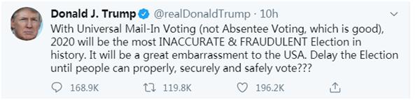 特朗普又改口:并不想推迟选举 但不想是场欺诈式选举
