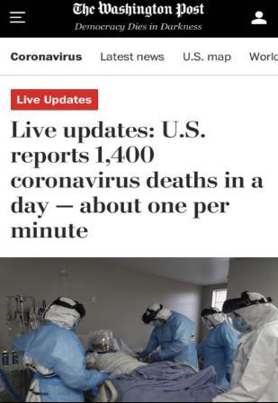 △《华盛顿邮报》指出,7月29日,美国创下单日死亡1400人的新高记录,相当于每分钟都有患者死亡