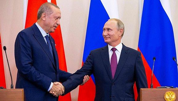 9月17日,俄罗斯索契,普京与埃尔多安举行会晤。图片来源:视觉中国