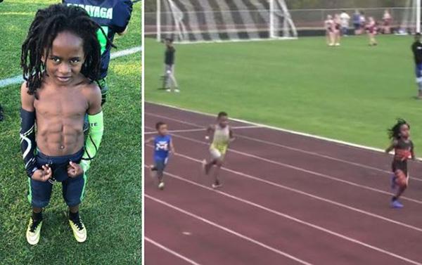"""7岁百米13秒48 """"地球最快孩子""""在美国刷屏(图)"""