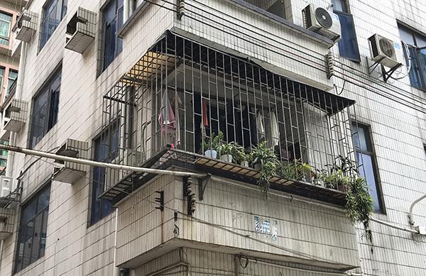 涉事家庭阳台上的盆栽和衣物 澎湃新闻记者 沈文迪 图