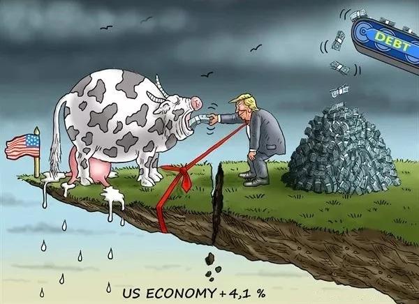 """▲[特朗普用债务来喂""""奶牛""""]美国总统特朗普用债务来喂奶牛,刺激经济增长。美国第二季度国内生产总值增速为4.1%,但专家警告,在债务高企和贸易战的影响下,经济增长难以为继。(美国卡格尔漫画网)"""