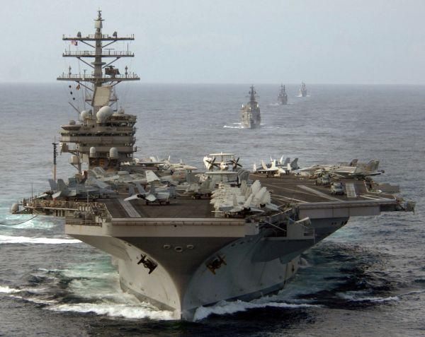 """资料图片:美海军""""里根""""号核动力航母。(图片来源于网络)"""