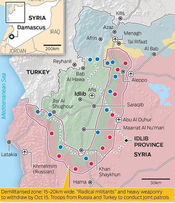 红线范围为缓冲区大致位置。绿色为反对派控制区,粉红为政府控制区,蓝色为库尔德控制区。图片来源:海湾新闻网