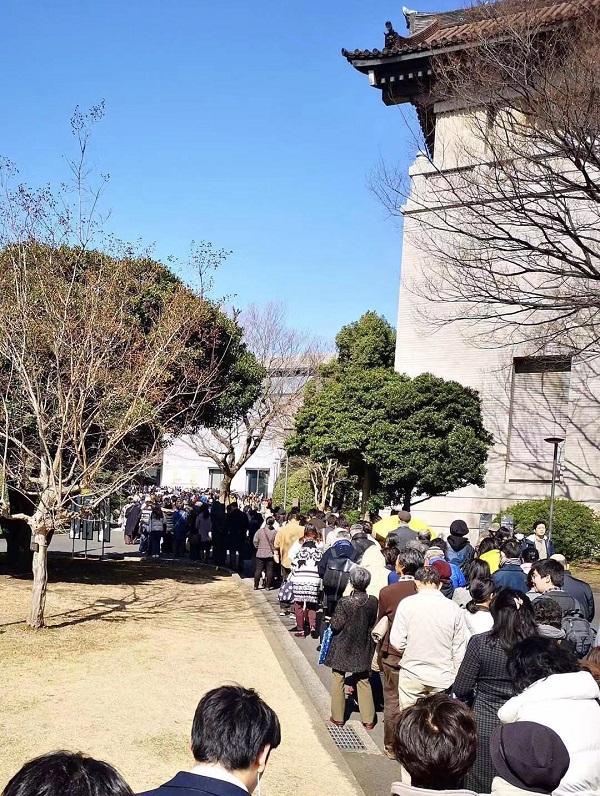 24日展览结束当天,东京国立博物馆门前的排队