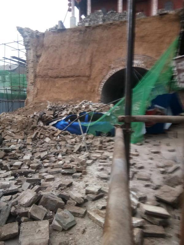 山西太谷:省级文保单位鼓楼发生墙体脱落,正紧急抢救保护