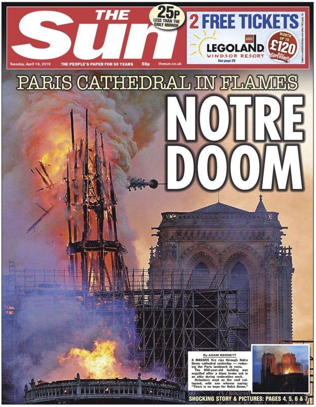 巴黎圣母院着火 成了各大媒体的头版头条(图)