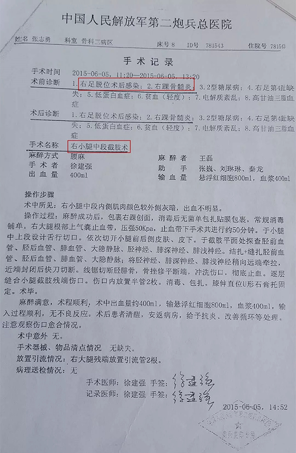 中国人民解放军第二炮兵总医院手术记录。