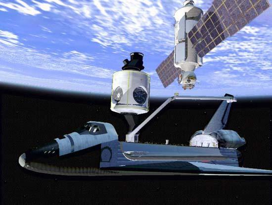 经过数小时的艰苦奋战,奋进号航天飞机的宇航 员们在 6日夜间终于成功地将国际空间站的头两个组件 俄制的曙光号功能舱和美制的团结号节点舱 连接在了一起,奋进号此次为期12天的飞行中最为艰 巨的任务已胜利完成。 根据美国航空航天局约翰逊航天中心发布的信息, 奋进号上的宇航员首先于美国东部时间晚上 9时07分左 右准确地捕获到了曙光号,紧接着利用航天飞机上的 机械手将曙光号置于距团结号上部仅 5厘米的地 方,最后由机长卡巴纳点燃助推器,操纵 奋进号 轻 微上浮,迫使 2个