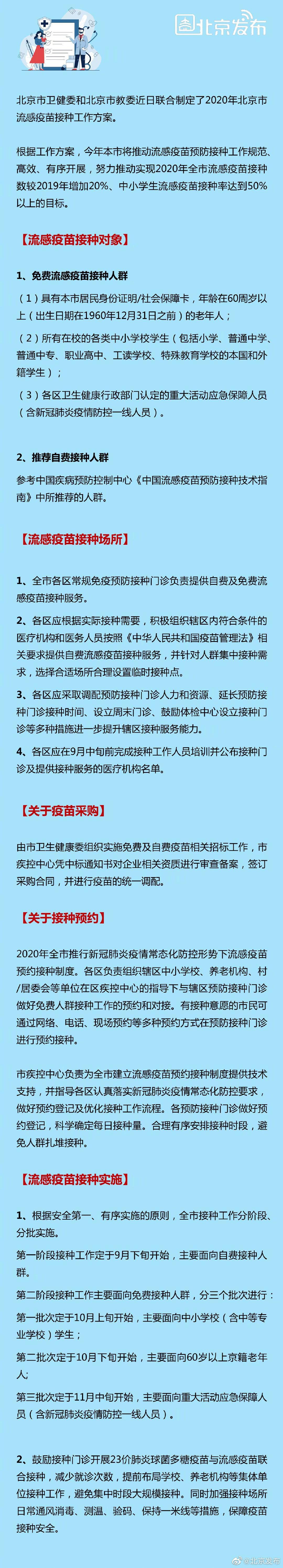北京流感疫苗接种工作方案:户籍老人、中小学生免费