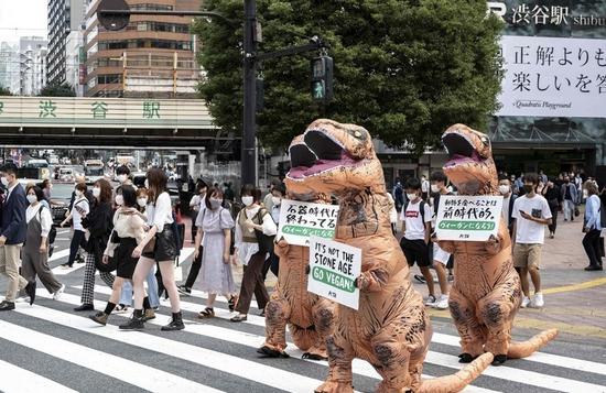 """""""善待动物组织""""东京街头扮""""霸王龙""""呼吁吃素,日网友不解:为何扮成食肉恐龙……"""
