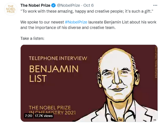 2021诺贝尔化学奖得主:不要计划去赢得诺奖