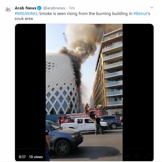 黎巴嫩贝鲁特中心商业区发生火灾 暂无伤亡报告