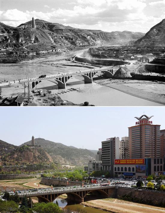 20世纪60岁月的延安城和2019年的延安城(新华网)