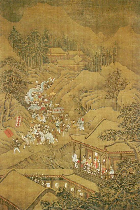 大英博物馆藏18世纪中国绘画,画家应用 细致的线条和用色,勾勒出了元宵节赏灯舞龙、热烈欢腾的情景。