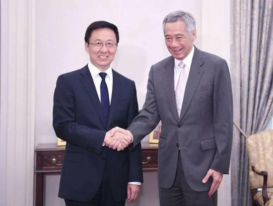 ▲2018年9月21日,韩正会见新加坡总理李显龙。(新华网)