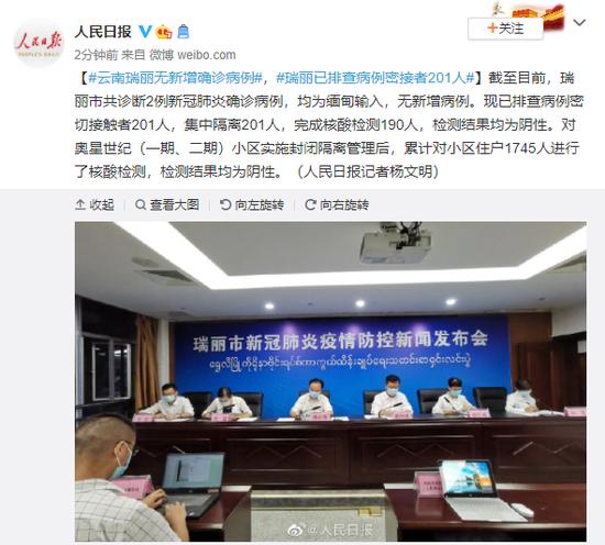 云南瑞丽无新增确诊病例 目前已排查病例密接者201人
