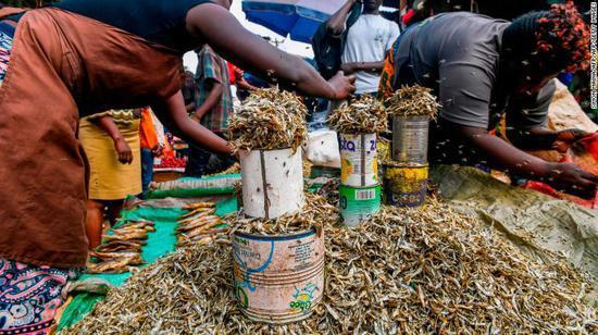 主妇们在内罗毕市区的市场上售卖鱼干 CNN 图