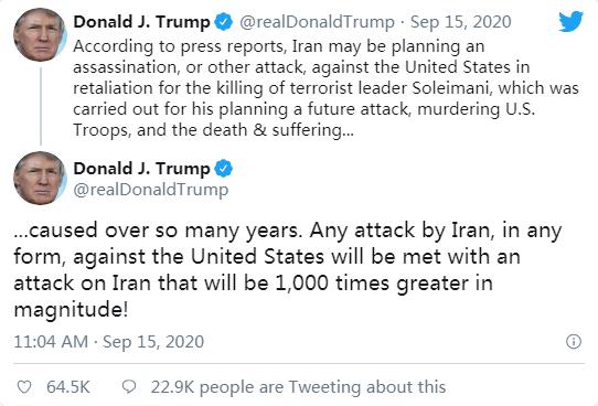 """特朗普回应""""伊朗考虑暗杀美驻南非大使""""传闻"""