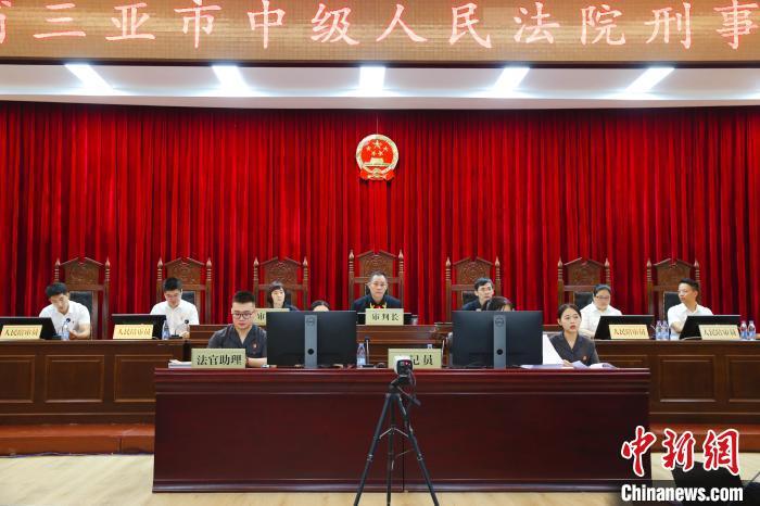三亚中院公开开庭审理刘某鸯等49人涉黑案