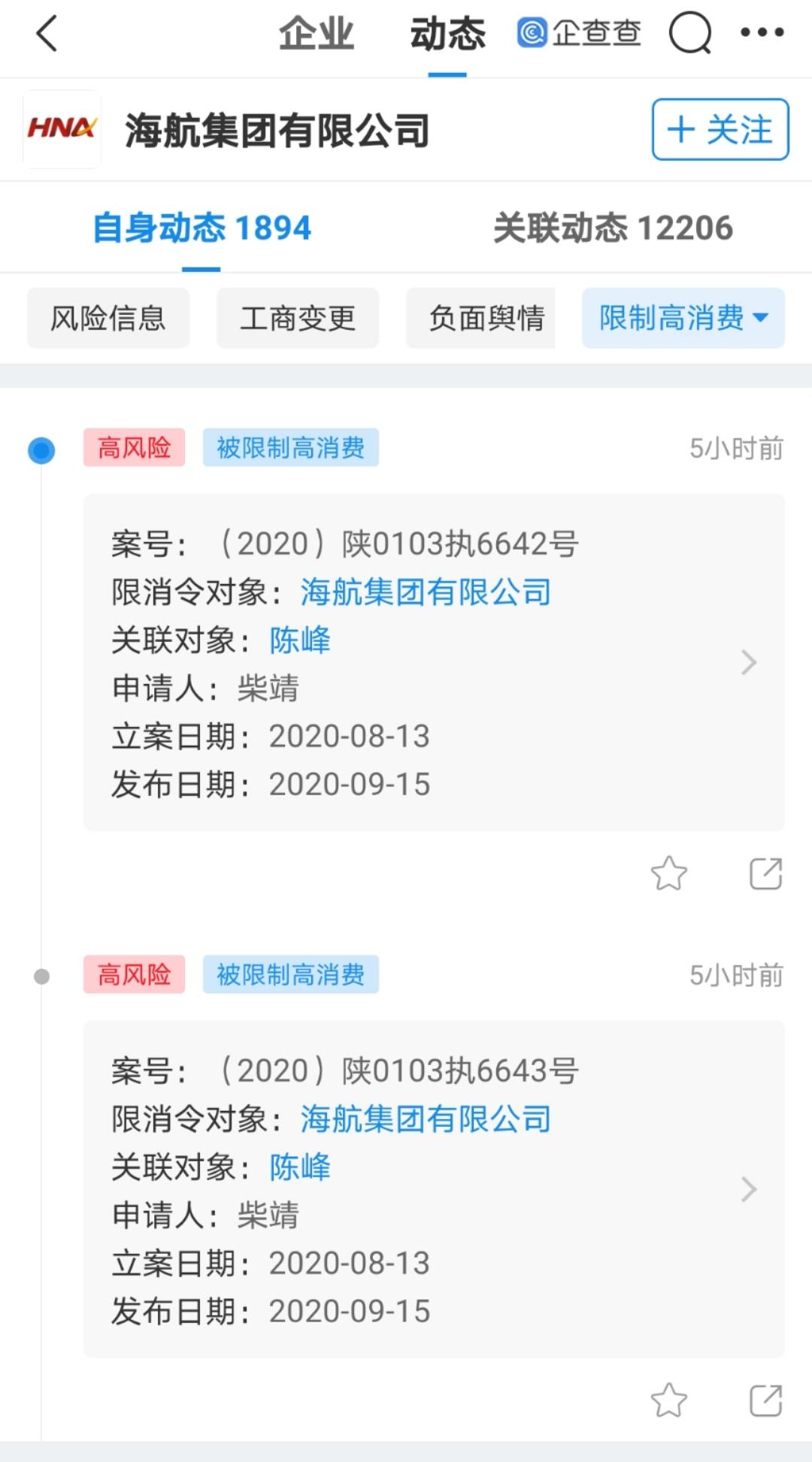 海航集团及法定代表人陈峰被限制高消费