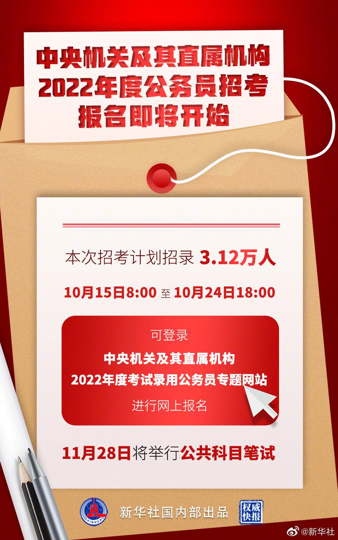"""2022年度""""国考""""明起开始报名 计划招录3.12万人"""