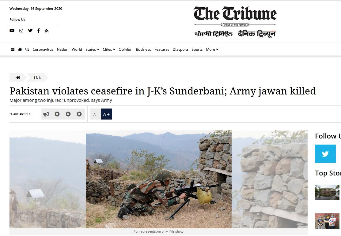 印巴再交火!印媒:造成1名印度士兵死亡2人受伤