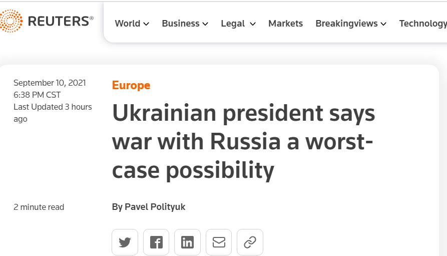 乌克兰总统泽连斯基:乌俄存在爆发全面战争可能性