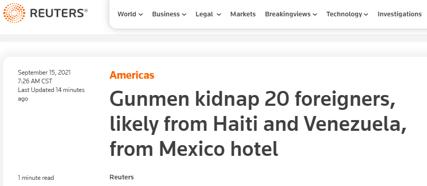 枪手在墨西哥突袭一家酒店,绑架约20名外国人
