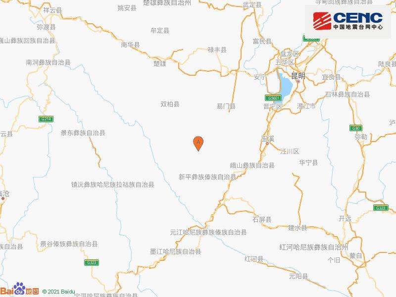 中国地震台网自动测定:云南楚雄州双柏县附近发生3.9级左右地震